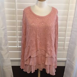 V Cristina Pink Crocheted Vintage Top - Sz XL